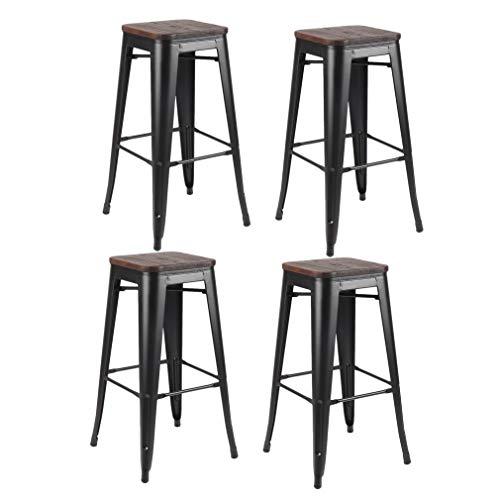 Juego de 4 taburetes de barra de metal de 76 cm de altura para mostradores con asiento de madera | Taburete industrial apilable vintage para bares, patio y café | Las mejores sillas de jardín para