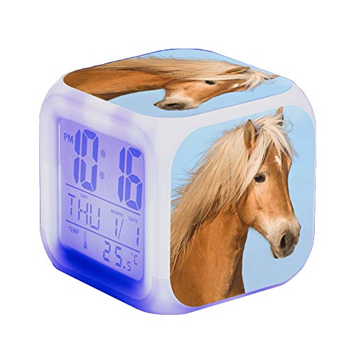 Wecker Pferde Tier Alarm Kinder Beleuchteter LED Night Glowing Wecker mit Licht Aufwachen Geburtstagsgeschenke für Erwachsene (J)