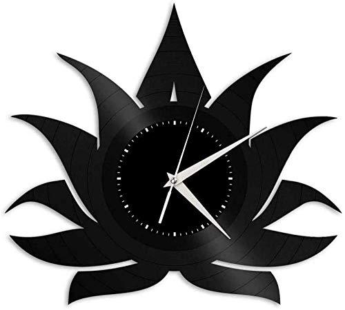 WTTA Reloj de Pared de Vinilo Lotus-Reloj de Pared con Disco de Vinilo Retro Regalo Fresco Decoración del hogar-No_Led_Light