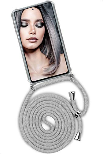 ONEFLOW Twist Hülle kompatibel mit Samsung Galaxy S20 FE/FE 5G - Handykette, Handyhülle mit Band zum Umhängen, Hülle mit Kette abnehmbar, Silber Grau
