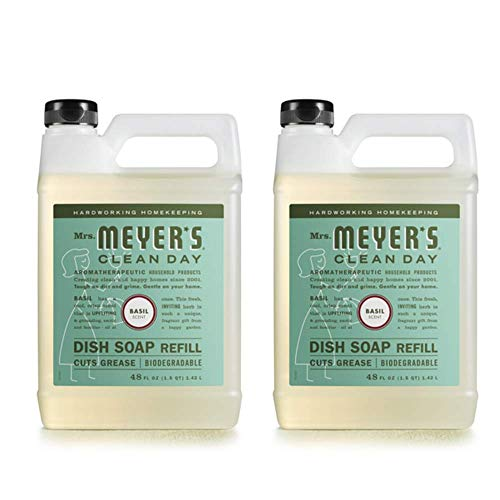 Mrs. Meyer's Clean Day Liquid Dish Soap Refill, Basil, 48 Ounce - 2 PK