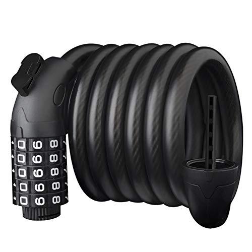 5 dígitos seguro combinación bicicleta bloqueo scooter bicicleta motocicleta Cable cadena cerraduras (negro mate) bicicleta equipo diario
