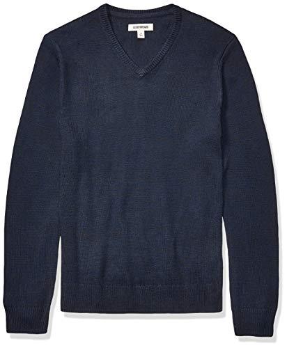 Amazon Brand - Goodthreads Men's Supersoft Marled V-Neck Sweater, Navy Medium