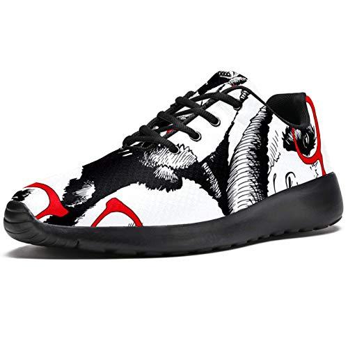 Zapatillas deportivas para correr para mujer Panda en rojo gafas de sol zapatillas de malla transpirable senderismo tenis tenis, color, talla 37 EU