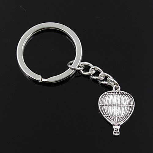 MEIHEK Männer 30mm Schlüsselbund DIY Metallhalter Kette Vintage Heißluftballon 24x16mm Silber Farbe Anhänger Geschenk Silber