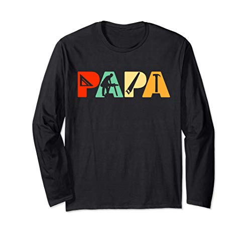 Camisa retro de papá carpintero, regalo divertido de papá ca Manga Larga