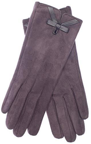 EEM Damen Kunstleder Handschuhe MALENA in Wildlederoptik mit weichem Teddyfleece, vegan, anthra, one size