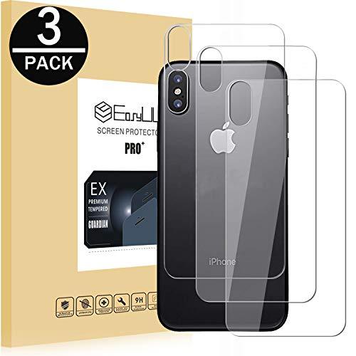EasyULT für iPhone X Back Schutzfolie[3 Stück], HD Ultra-klar Anti-Kratz Anti-Fingerabdruck Anti Shock Back Screen Protector Glas Panzerglas Für iPhone X