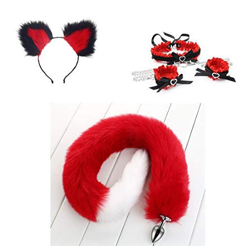 Diadema de orejas de gato, cola de zorro peludo rojo-blanco Pl-úg An-àl, conjunto de esposas con cuello de collar Disfraz Cosplay Heartbeat Halloween Props (78cm, M)