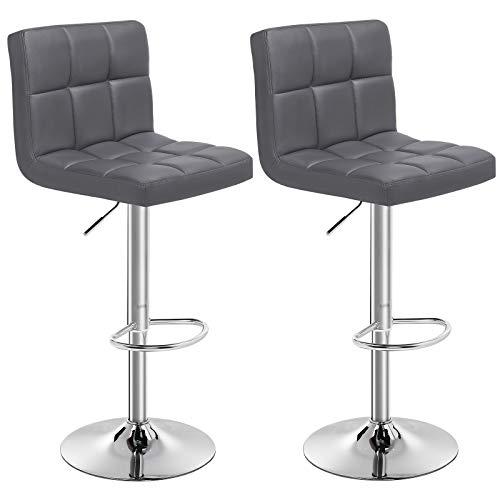 SONGMICS Barhocker 2er Set, höhenverstellbare Barstühle, Barstuhl aus Kunstleder, 360° Drehstuhl, Küchenstühle mit Rückenlehne & Fußstütze, Lobby, Tresen, verchromter Stahl, dunkelgrau, LJB64GYZ