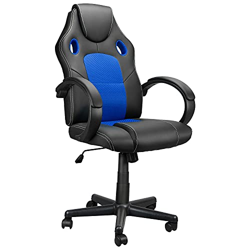 Computer Gaming Chair Cheap, High Back Ergonomic Racing Chair Headrest with Lumbar Support, Home Office Desk Chair Adjustable PU Leather Mesh, Video Game Chairs for Teens and Adults Blue