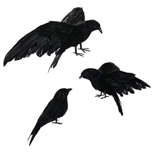 Asodomo Halloween-Krähen-Requisite, realistisch, handgefertigt, 3 Stück, schwarz gefiederte Krähen-Requisiten, Haltung: aufplustern, fliegen und stehen, als Deko für zuhause