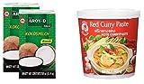 2 paquetes de leche de coco AROY-D [2x 250ml] Cocosmilc - Leche de coco + Cock Curry Paste rojo 1x400g