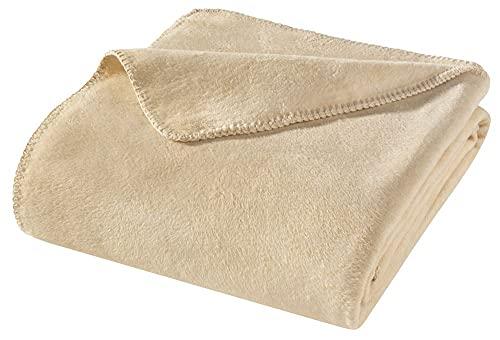 WOHNWOHL Kuscheldecke 150x200cm • weiche Tagesdecke • Sofadecke • Wohndecke • Schlafdecke • Ökotex Zertifizierte Baumwolldecke • Farbe: Beige