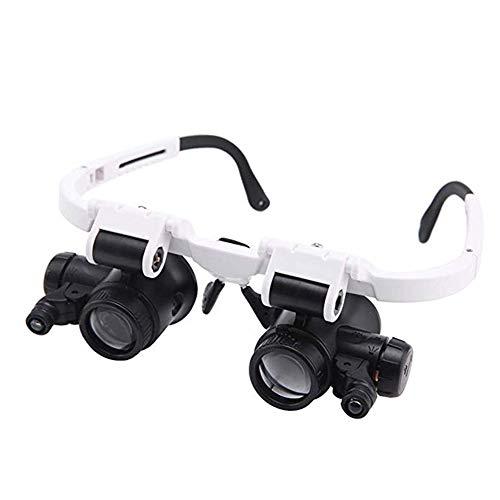 Lupenbrille Mit Licht Hände Frei Kopfband Lupen Standlupe Mit 2 Led Lichts Für Hobby,Denest,Elektriker,Juweliere,Nähen,Handwerk,Und Ältere Menschen-2 Wechselobjektive (8X Bis 23X)