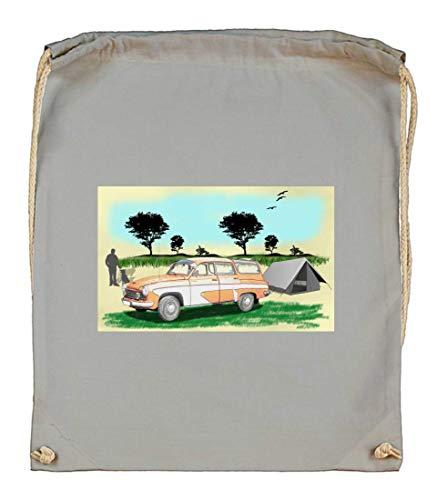 Druckerlebnis24 Turnbeutel - Pkw Oldtimer Kombi Tourist - Stoffbeutel aus Bio Baumwolle
