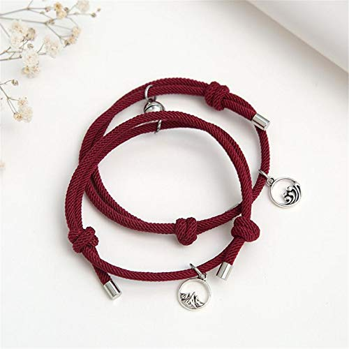 YEKONG Couple Bracelets Silver Pendants Braided Rope Bracelet with Magnetic Bells Charms 2 PCS for Women Men B