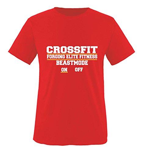 Comedy Shirts - Crossfit forging Elite Fitness Beastmode on Off - Herren T-Shirt - Rot/Weiss-Gelb Gr. XL