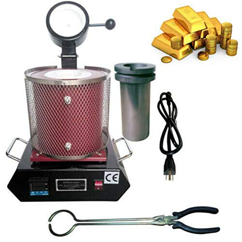 TFCFL Gold Melting Furnace, Automatic Electric Digital Jewelry Melting Furnace Machine with Graphite Crucible for Melt Gold Silver Copper Metal 2KG 1600W 1150℃ (Black/Red) (Red)
