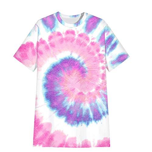 HJFGIRL Jersey Estampado Suelto Casual Manga Corta Camiseta Moda de Verano Vestido Medio Superior Delgado para Verano,D-Small