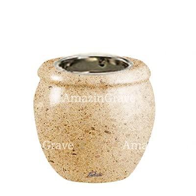 AmazinGrave - Colecciones en mármol Calizia - Base de lámpara votiva Amphòra 10cm - con Montaje al suelo3237-8613