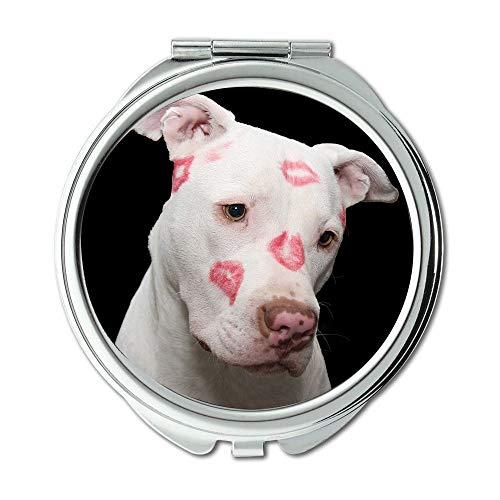 Espejo de maquillaje, espejo retrovisor para perro Pit Bull Pitbull San Valentín, día de San Valentín, espejo de bolsillo, espejo portátil