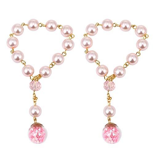 VALICLUD 2 Pezzi Braccialetto di Perle Simulate Buddha Perle di Preghiera Braccialetto Braccialetti Versatili Catene da Polso Elastiche Battesimi Gioielli Regalo per Le Donne Bambina Rosa
