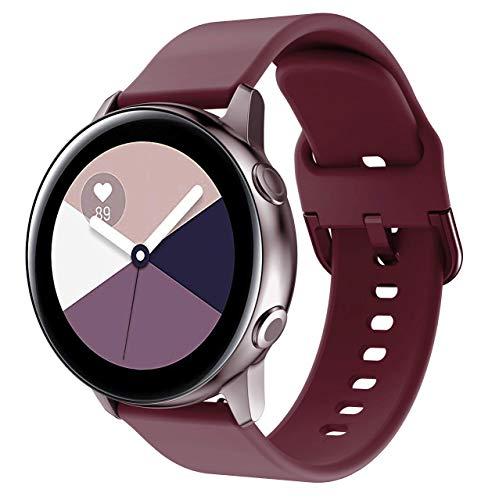 Glebo Pulsera deportiva compatible con Samsung Galaxy Watch 42mm/Active 2 40mm/44mm/Active 40mm, 20mm, silicona suave, correa de repuesto para Galaxy Watch 3 41mm/Gear Sport, Rojo Vino