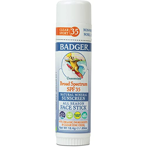Badger - SPF 35 Clear Zinc Sport Sunscreen Stick - Unscented - Broad Spectrum Water Resistant Reef Safe Sunscreen, Natural Mineral Sunscreen with Organic Ingredients .65 oz