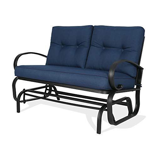 PATIO TREE 2-Seat Patio Glider Swing Bench Outdoor Rocking Loveseat Chair with Cushion, Navy