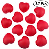 Akusety 12 Bulk 2 7/8'x3' Red Heart Stress Balls - Ideal for Valentine's Day or Heart Health
