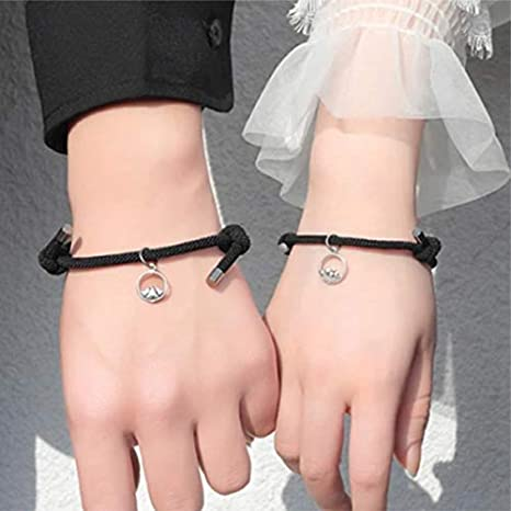 magnetisches Armband f/ür M/änner Frauen Paare magnetische Schnalle magnetischer Schmuck verstellbares geflochtenes Seil-Armband Liebhaber-Kit lefeindgdi Magnetische Paar-Armb/änder