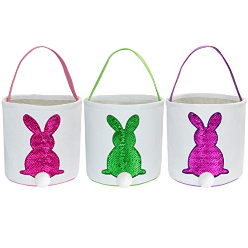 3-pack grote paashaasmanden, Easter Egg Hunt Bunny Bags Tote-manden Canvas katoenen handtas Emmer Tote-tas voor kinderen Meisjes