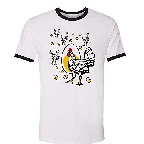 Roseanne Chicken Ringer Tee Shirt Unisex 2X-Large White/Black