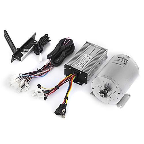 Mophorn Motor Eléctrico de Corriente Continua 1800W 48V Motor Eléctrico de CC con Controlador Motor sin Escobillas Mando Cables Pedal Acelerador Go-kart