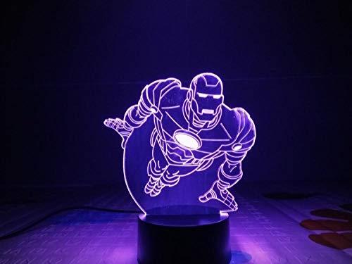 Iron Man LED Lámpara de ilusión 3D Luz nocturna de toque Auto Flash multicolor Figura Decoración para el hogar Atmósfera USB Regalo de Navidad 6 Sólo 1 PLACA DE ACRÍLICO Esposo Recargable USB Esposa H