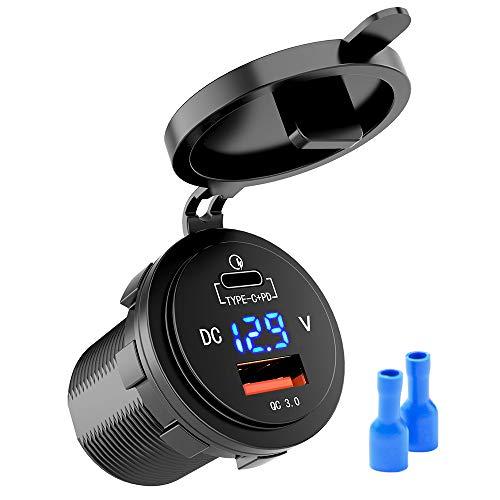 MICTUNING 36 W rápido PD USB C Cargador de Coche – Cargador rápido USB 3.0 + Tipo C Conector de Carga con LED de voltímetro Digital – Enchufe Universal para Motocicletas de 12/24 V Marine PKW más