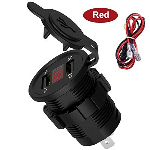 ZXC Autopartes Cigarrillos cargador dual USB del zócalo del alumbrador de energía 4.2A Enchufe con el voltímetro de cables y en la línea 10A Fusible for 12-24V del barco del coche de la motocicleta Pa