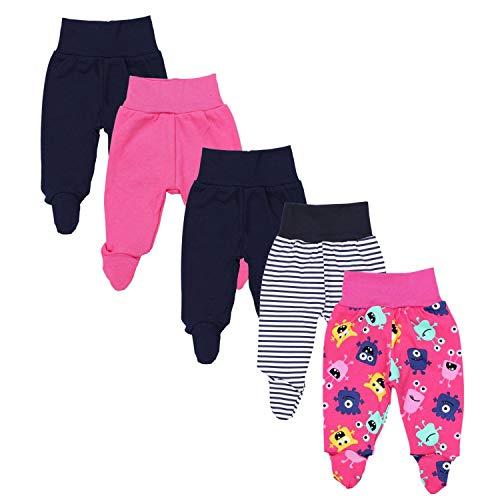 TupTam Baby Unisex Hose mit Fuß Bunte 5er Pack, Farbe: Mädchen 7, Größe: 56
