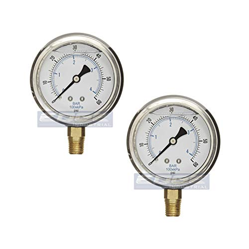 GAUGE Stainless Steel Lower Mount Liquid Filled Pressure, 2.5' FACE / DIAL, Rated WOG, 1/4' Male NPT, Range 0 - 60 PSI (Qty 02)