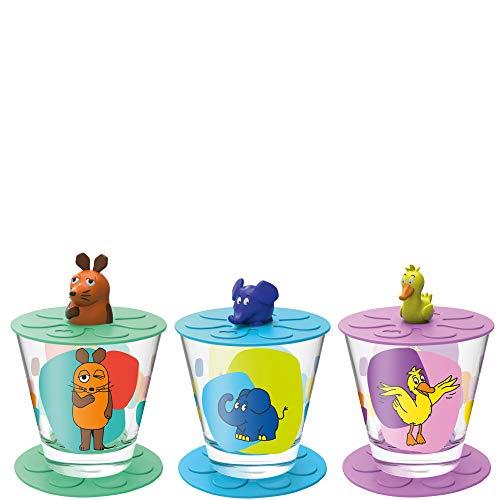 Leonardo Bambini Kinder-Gläser 3er Set, spülmaschinengeeignete Becher aus Glas, Deckel, Untersetzer, Maus, Elefant, Ente, 9-teilig, 215 ml, 021457