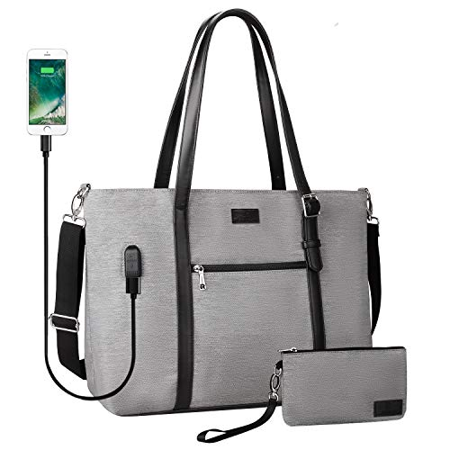 Laptop Tote Bag, Large Women Work Bag Purse USB Teacher Bag Fits 17 Inch Laptop (X large Gray)