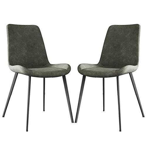 zyy Juego de 2 sillas de cocina, estilo vintage, sillas de cocina, sillas de salón, sala de estar, con patas de metal, asiento y respaldo de piel sintética (color gris claro, tamaño: 2 unidades)