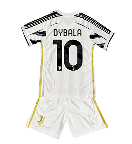 ShgBei New 2020/2021 Season Dybala #10 Home Kids/Youths Soccer T-Shirts Jersey White/Black Size 12-14Years