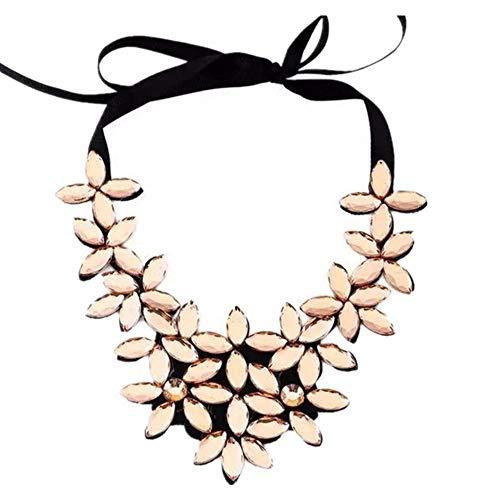 Liquidazione offerte, Fittingran Collare Choker in Cristallo con Pendente a Catena a Forma di Fiore (Oro)