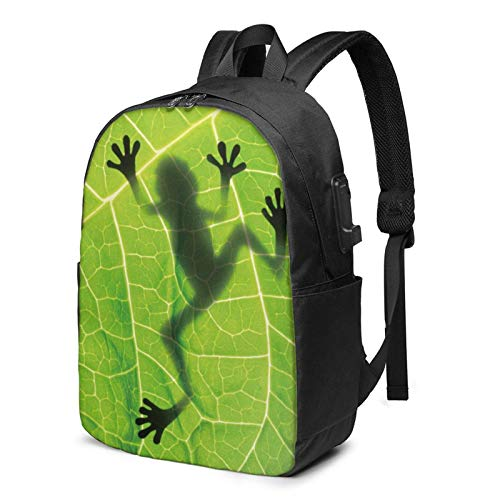 On Leaf Busin Laptop School Bookbag Travel Bapack with USB Charging Port & Headphone Port Fit 17 in