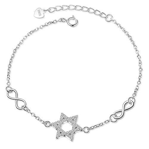 Allgut Pulsera de plata de ley 925 con circonita cúbica y estrella de David, con hexagrama, infinito, cadena ajustable