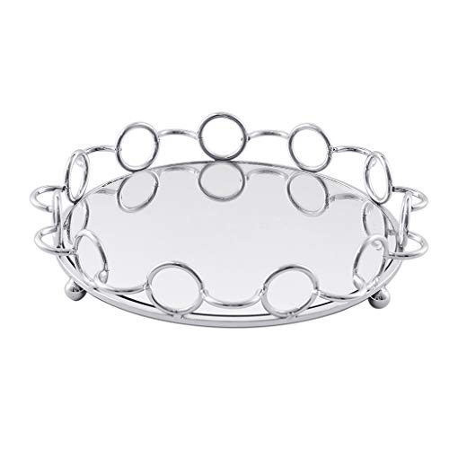 homozy Mirrored Vanity Tray Holder for Perfume, Makeup - Silver, 29cm