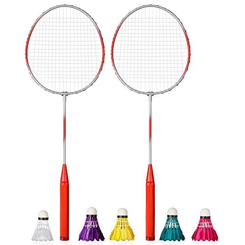 Shopping Hero Federball Basic Set 7-teilig, Ultraleichte Federballschläger 62cm, Kunststoff Federball, 4 Badminton Bälle mit echten Federn, für Kinder + Erwachsene! (Rot)