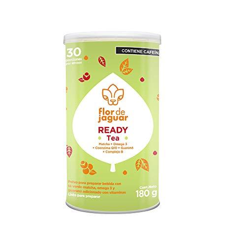FLOR DE JAGUAR   READY Tea polvo sabor matcha, menta limón con guaraná + coenzima Q10 + omega 3 + complejo B 180 g - ayuda a incrementar el rendimiento físico y mental - cero azúcar añadida
